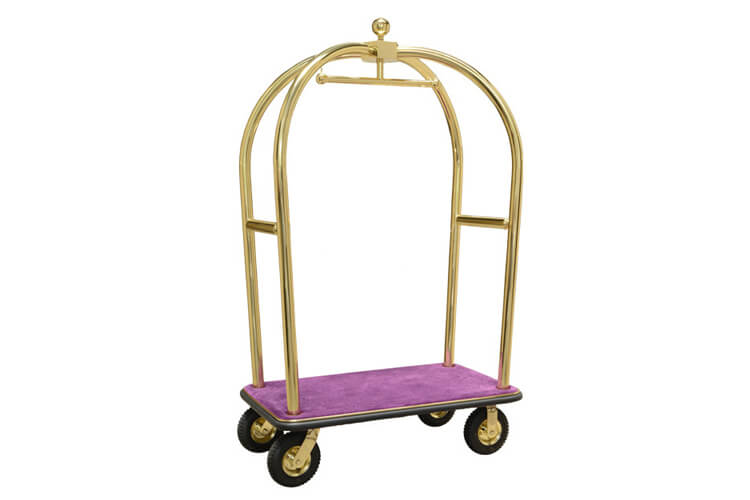 Brass Luggage Cart with Purple Carpet