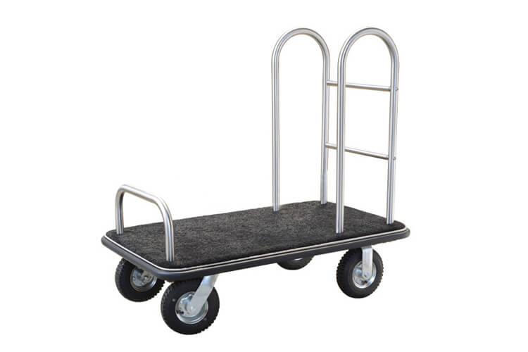 Brushed Stainless Steel Bellmen Cart in Silver