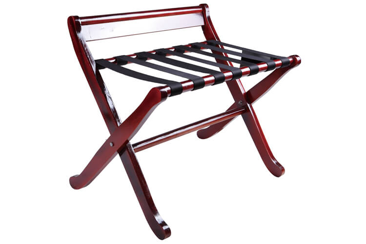 Folding Luggage Rack, Mahogany