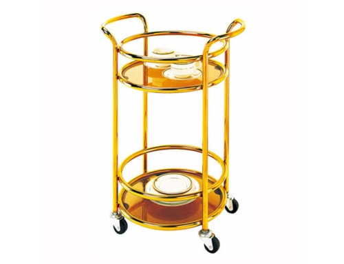 Round Wine Trolley in Titanium Gold