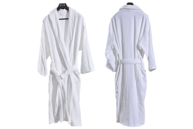 Hotel Bathrobes, Velour, Shawl Collar, Plain White