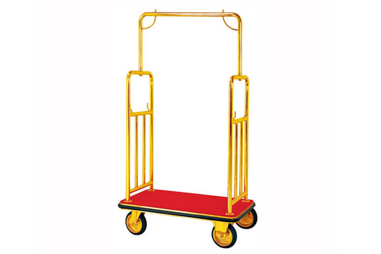 Hotel Luggage Cart, Polished Gold, Red Carpet