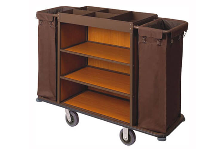 Housekeeping Cart, 3 Shelf, Brown, Steel