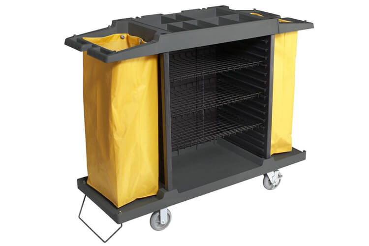 Housekeeping Cart, 4 Shelf, 2 Bags