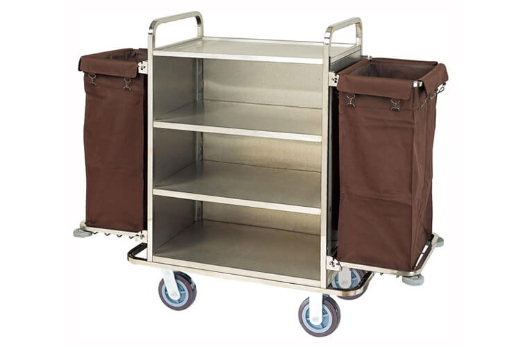 Housekeeping Trolley in Steel with 2 Bags