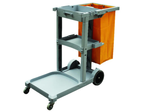 Janitor Cart in Plastic Gray