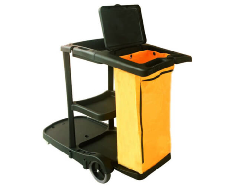Janitor Cart, Plastic, Black