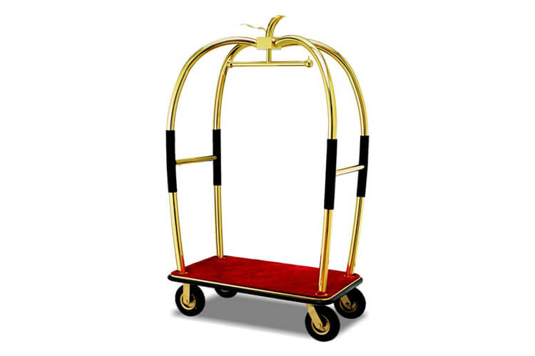 Polished Brass Hotel Luggage Cart